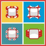 Indonesian, Red White badge Vector style Royalty Free Stock Photos