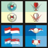 Indonesian, Red White Color Vector style 2 Royalty Free Stock Images