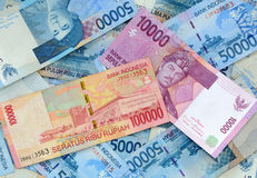 Indonesian rupiah. Many of Indonesian rupiah currency organized as a background Royalty Free Stock Photos