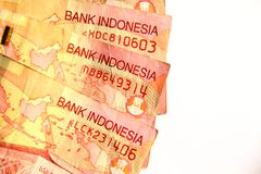 Indonesian Rupiah Close up. Royalty Free Stock Photo