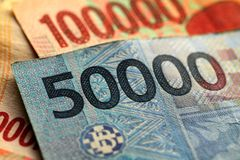 Indonesian Rupiah Close up. Royalty Free Stock Image