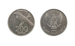 200 Indonesian rupiah coin. Isolated on white background Royalty Free Stock Photography