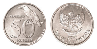 50 Indonesian rupiah coin. Isolated on white background Royalty Free Stock Photography
