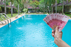 Indonesian rupiah in the hands on Bali, Indonesia Royalty Free Stock Images
