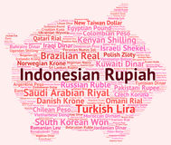 Indonesian Rupiah Represents Currency Exchange And Broker Stock Photos