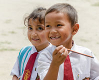Indonesian school kids in Samosir, Sumatra Indonesia on August 6, 2015 Royalty Free Stock Images
