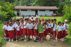 Indonesian schoolchildren. LORE LINDU, INDONESIA - JULY 14: Crowd of young children in front of the school on July 14, 2011 in Lore Lindu, Indonesia Royalty Free Stock Photos