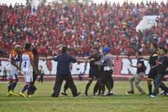INDONESIAN SOCCER TROUBLES Royalty Free Stock Images