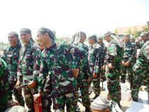Indonesian soldiers attractions Royalty Free Stock Image