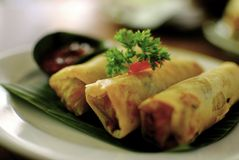 Indonesian spring roll bokeh. Indonesian traditional cuisine fried springroll bokeh Stock Photography