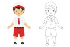 Indonesian Student Coloring Page Vector Template. Indonesia boy student wearing elementary school uniform. Coloring page for kids cartoon vector vector illustration