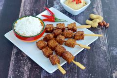 Indonesian tempeh satay. With steamed rice and peanut sauce royalty free stock photos