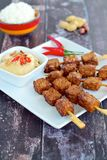 Indonesian tempeh satay. With steamed rice and peanut sauce Royalty Free Stock Photo
