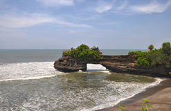 Indonesian temple on sea coast. Tanah lot complex. Royalty Free Stock Image