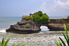 Indonesian temple on sea coast. Tanah lot complex. Royalty Free Stock Photos