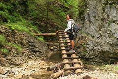 Tourist on wooden ladders in Slovak Paradise. Indonesian tourist - smiling young Papuan woman walking on wooden ladders on path in dry riverbed of river Such royalty free stock photo