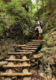 Tourist on wooden ladders in Slovak Paradise. Indonesian tourist - smiling young Papuan woman walking on wooden ladders on path in dry riverbed of river Such stock image