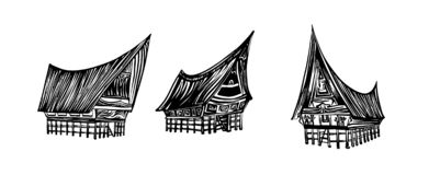 Indonesian traditional Batak house set. Hand drawn outline sketch. Vector black ink drawing isolated on white background. Graphic. Indonesian traditional Batak stock illustration