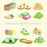 Indonesian Traditional Cakes and Snacks Cartoon Vector. Indonesian traditional cakes and snacks, cartoon vector set Royalty Free Stock Photo
