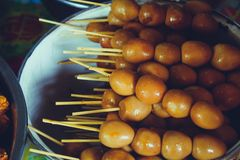 Indonesian traditional food sate telur puyuh. Egg royalty free stock photo