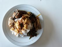 Indonesian traditional food from west sumatra. Padang and fried chicken stock photo