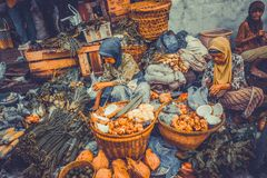 Indonesian traditional market in purwokerto royalty free stock image
