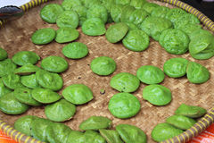Indonesian traditional snack green pancake durian sauce Royalty Free Stock Images