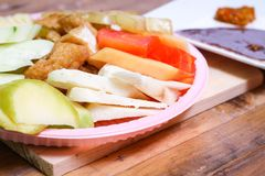 Indonesian traditional snack, Rujak manis : Indonesian spelling, version 9 stock photography