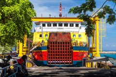 Indonesian transport cargo ship big ferry boat commits plying routes between the tropical islands Bali Royalty Free Stock Photos