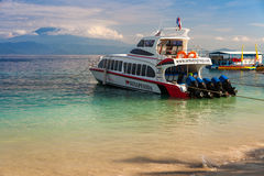 Indonesian transport cargo ship big ferry boat commits plying routes between the tropical islands of Indonesia Royalty Free Stock Photo
