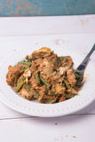 Indonesian Vegetable salad or pecel coated with sweet & savory peanut butter sauc. On wood base Stock Photography