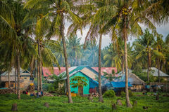 Indonesian village in Palm grove Royalty Free Stock Image