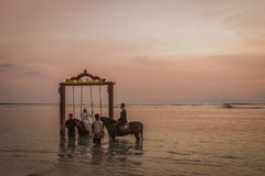 Muslim bride and groom riding in the sea at sunset royalty free stock image