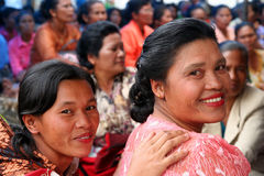 Indonesian wedding guests. Indonesian woman guests on a wedding, Sumatra, Indonesia Stock Photos