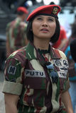 Indonesian woman soldier Stock Image