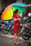 Indonesian woman with umberella, Medan, Indonesia Royalty Free Stock Photos
