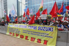 Indonesian Workers Rally in Labor Day Royalty Free Stock Photo
