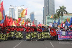 Indonesian Workers Rally in Labor Day Stock Images