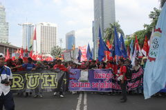 Indonesian Workers Rally in Labor Day Stock Photo