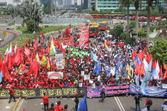 Indonesian Workers Rally in Labor Day Stock Photos