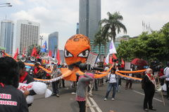 Indonesian Workers Rally in Labor Day Stock Image