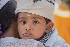 Indonesian young boy during the celebration Balinese New Year Stock Images