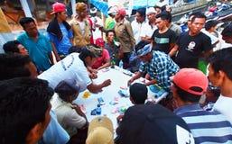Indonesians Gambling, Nusa Penida Island Royalty Free Stock Photo