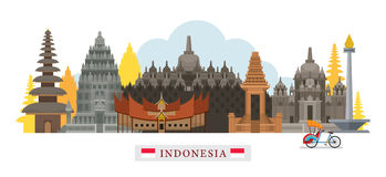 Indonesien-Architektur-Markstein-Skyline Stockfotos