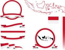 Indonesien-Fahnen-Satz Lizenzfreies Stockbild