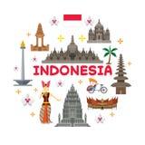 Indonesien-Reise-Anziehungskraft-Aufkleber Stockbilder