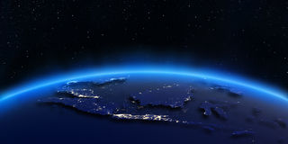 Indonesien-Stadt beleuchtet Karte Stockfotos