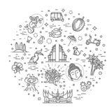 Indonesien symbolsupps?ttning Dragningar linje design Turism i Indonesien, isolerad vektorillustration traditionella symboler stock illustrationer