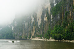 Indonesien - tropiskt landskap på floden, Borneo Royaltyfria Bilder