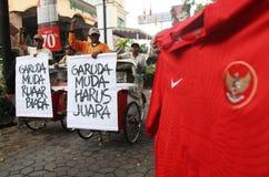 Indonesien under supportern för 19 fotboll Arkivfoto